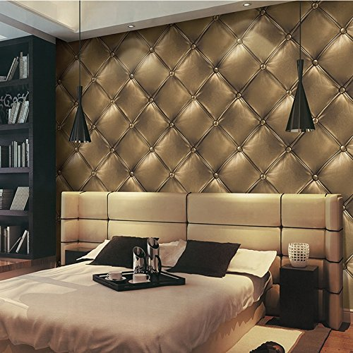 HaokHome 3231 Vintage Gold 3D Leather textured wallpaper