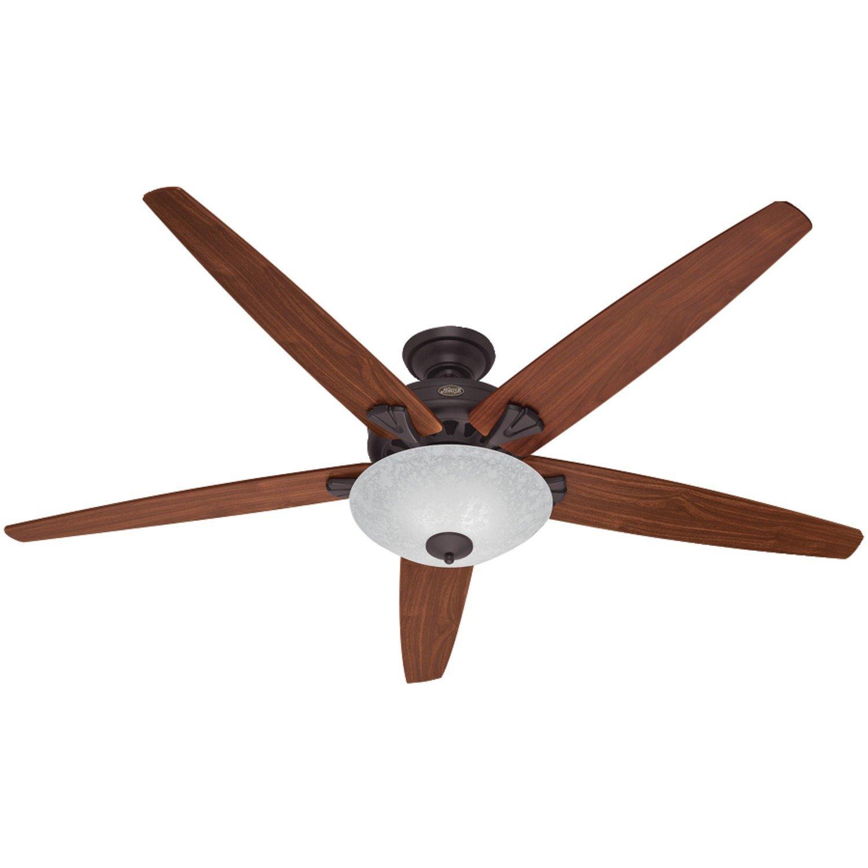 Hunter Fan Company 55042 Stockbridge 70-Inch Ceiling Fan with Five Walnut/Medium Oak Blades and Light Kit