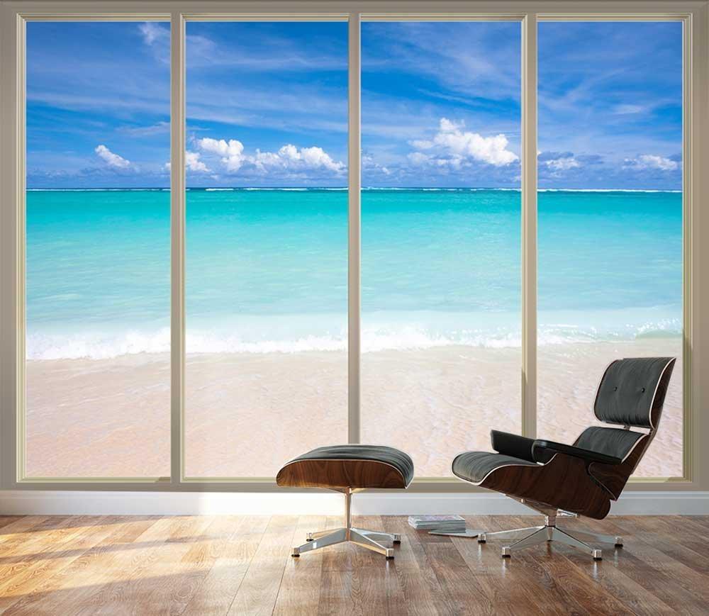 Wall26 - Large Wall Mural - Tropical Beach Seen Through Sliding Glass Doors